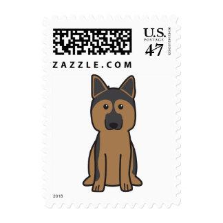 Dibujo animado del perro de pastor alemán estampilla