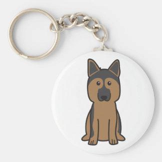 Dibujo animado del perro de pastor alemán llavero redondo tipo pin