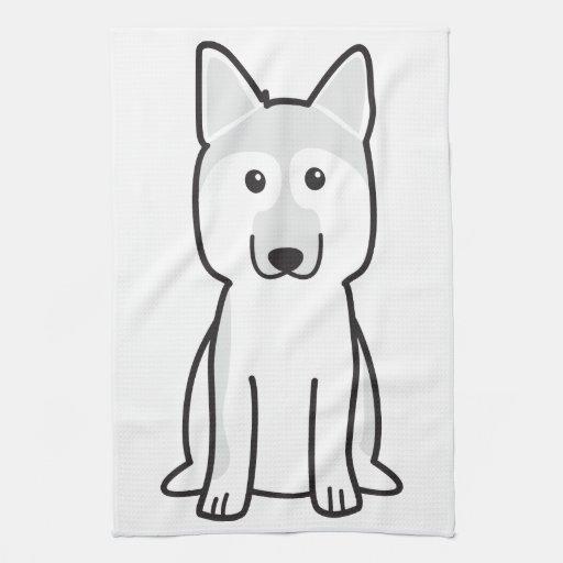 Dibujo animado del perro de pastor alemán toallas de mano