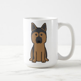 Dibujo animado del perro de pastor alemán tazas