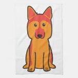 Dibujo animado del perro de pastor alemán toallas