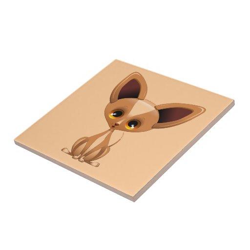 Dibujo animado del perro de perrito de la chihuahu azulejo cuadrado pequeño