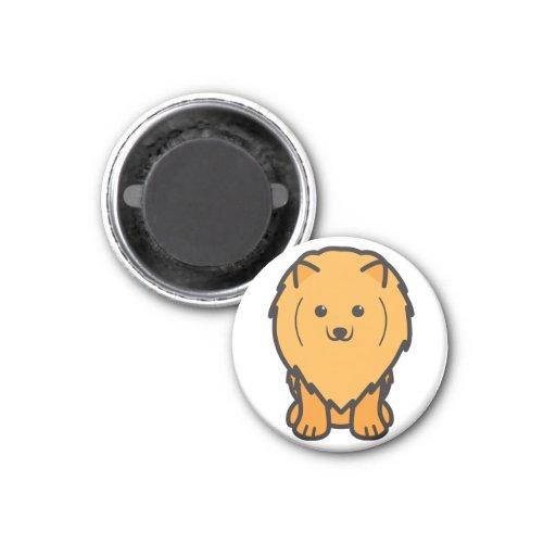 Dibujo animado del perro de Pomeranian Iman De Frigorífico