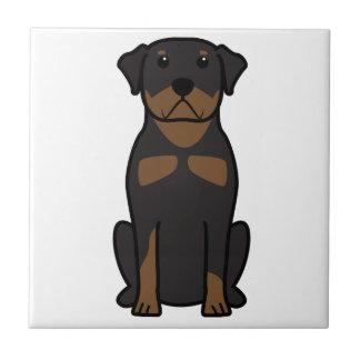 Dibujo animado del perro de Rottweiler Azulejo Cuadrado Pequeño