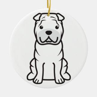 Dibujo animado del perro de Shar-Pei del chino Adorno Navideño Redondo De Cerámica