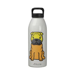 Dibujo animado del perro de Shar-Pei del chino Botella De Agua Reutilizable