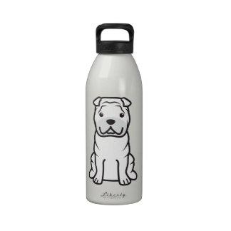 Dibujo animado del perro de Shar-Pei del chino Botellas De Agua Reutilizables