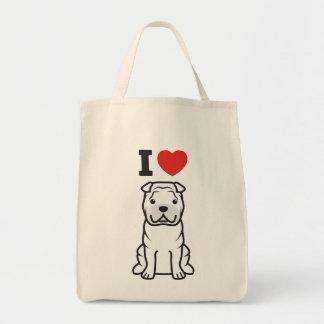 Dibujo animado del perro de Shar-Pei del chino Bolsas Lienzo