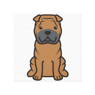 Dibujo animado del perro de Shar-Pei del chino Impresiones De Lienzo