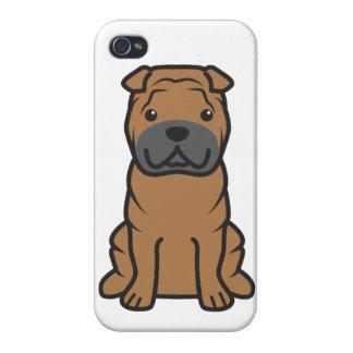 Dibujo animado del perro de Shar-Pei del chino iPhone 4 Carcasa