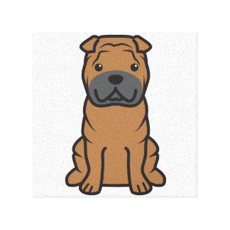 Dibujo animado del perro de Shar-Pei del chino Lona Envuelta Para Galerías