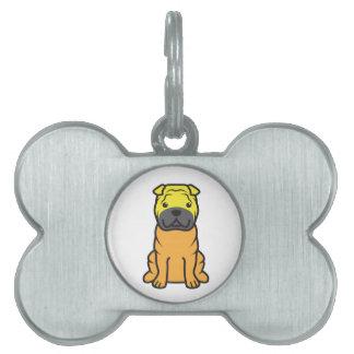 Dibujo animado del perro de Shar-Pei del chino Placa De Nombre De Mascota