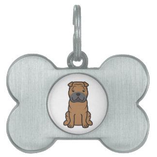 Dibujo animado del perro de Shar-Pei del chino Placas De Nombre De Mascota