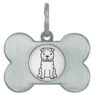 Dibujo animado del perro de Shar-Pei del chino Placas De Mascota