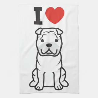 Dibujo animado del perro de Shar-Pei del chino Toallas De Mano