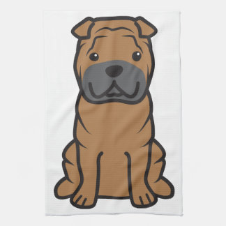 Dibujo animado del perro de Shar-Pei del chino Toalla