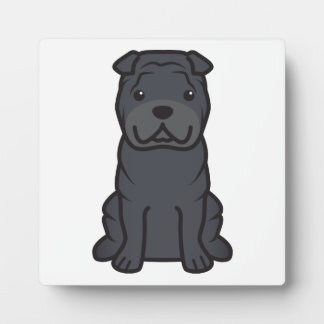 Dibujo animado del perro de Shar-Pei del chino Placa De Madera