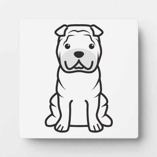 Dibujo animado del perro de Shar-Pei del chino Placa Para Mostrar