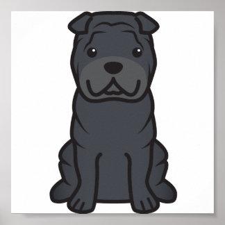 Dibujo animado del perro de Shar-Pei del chino Póster