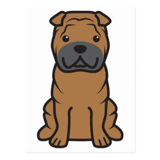 Dibujo animado del perro de Shar-Pei del chino Tarjetas Postales
