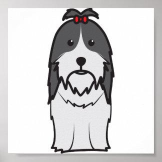 Dibujo animado del perro de Shih Tzu Póster
