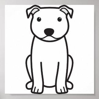Dibujo animado del perro de Staffordshire bull ter Poster