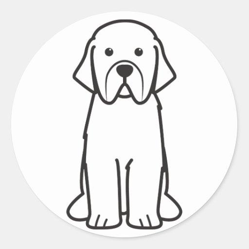 Dibujo animado del perro de Terranova Pegatinas Redondas