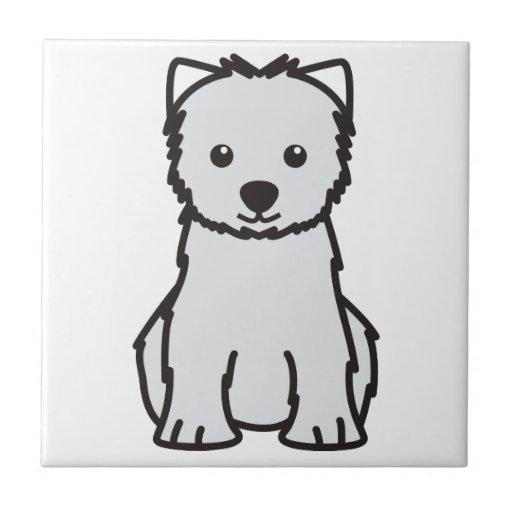 Dibujo animado del perro de Terrier blanco de mont Azulejo