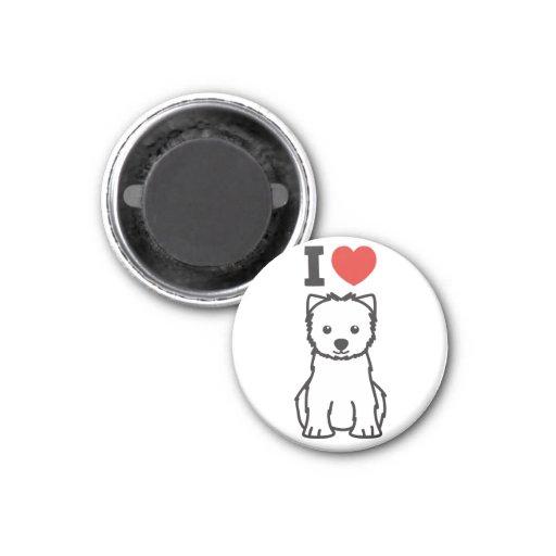 Dibujo animado del perro de Terrier blanco de mont Imán Para Frigorifico