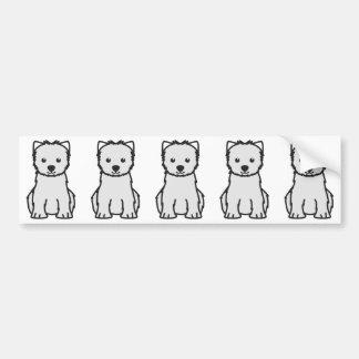 Dibujo animado del perro de Terrier blanco de mont Pegatina Para Auto