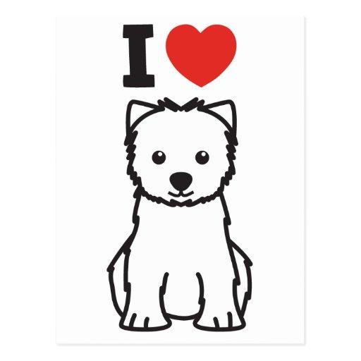 Dibujo animado del perro de Terrier blanco de mont Tarjeta Postal