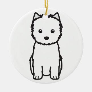 Dibujo animado del perro de Terrier de mojón Adorno Redondo De Cerámica