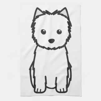 Dibujo animado del perro de Terrier de mojón Toallas De Cocina