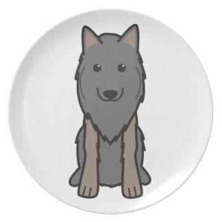 Dibujo animado del perro de Tervuren del belga Plato Para Fiesta