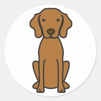 Dibujo animado del perro de Vizsla Pegatina Redonda