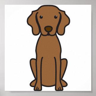 Dibujo animado del perro de Vizsla Póster