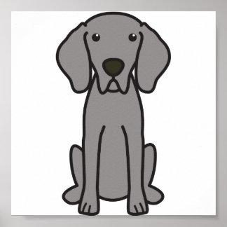 Dibujo animado del perro de Weimaraner Poster