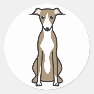 Dibujo animado del perro de Whippet Pegatina Redonda