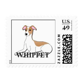 Dibujo animado del perro de Whippet Franqueo