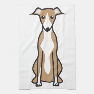 Dibujo animado del perro de Whippet Toalla De Cocina