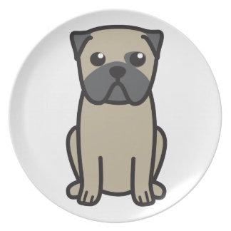 Dibujo animado del perro del barro amasado plato