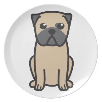 Dibujo animado del perro del barro amasado platos para fiestas