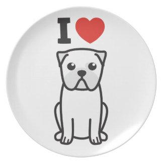 Dibujo animado del perro del barro amasado platos de comidas
