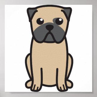 Dibujo animado del perro del barro amasado póster