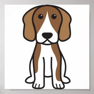 Dibujo animado del perro del beagle póster