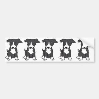 Dibujo animado del perro del border collie etiqueta de parachoque