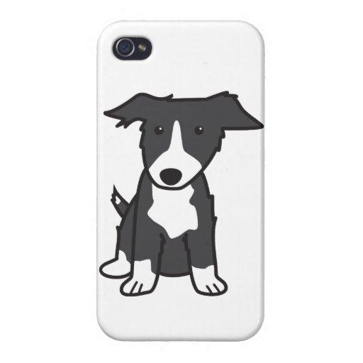 Dibujo animado del perro del border collie iPhone 4 carcasa