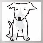 Dibujo animado del perro del border collie poster