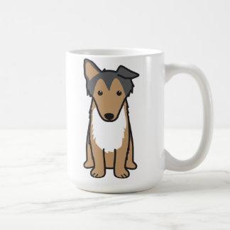 Dibujo animado del perro del collie taza básica blanca