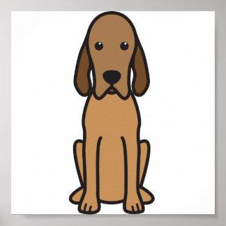 Dibujo animado del perro del Coonhound de Redbone Póster